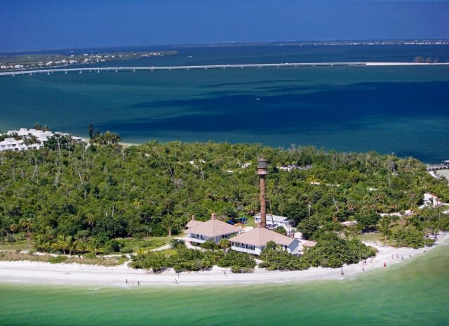 Sanibel Island is surrounded by water making it cooler