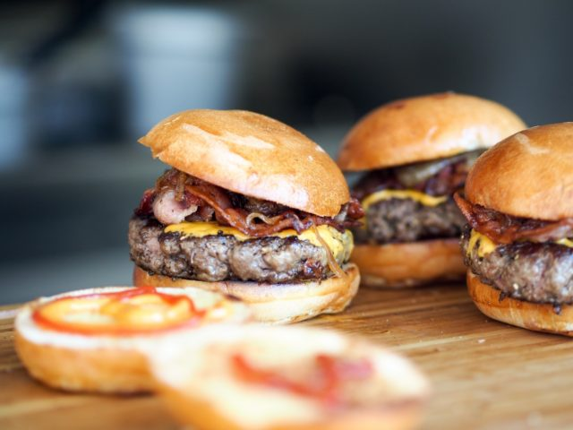 Multiple burgers ready to be served
