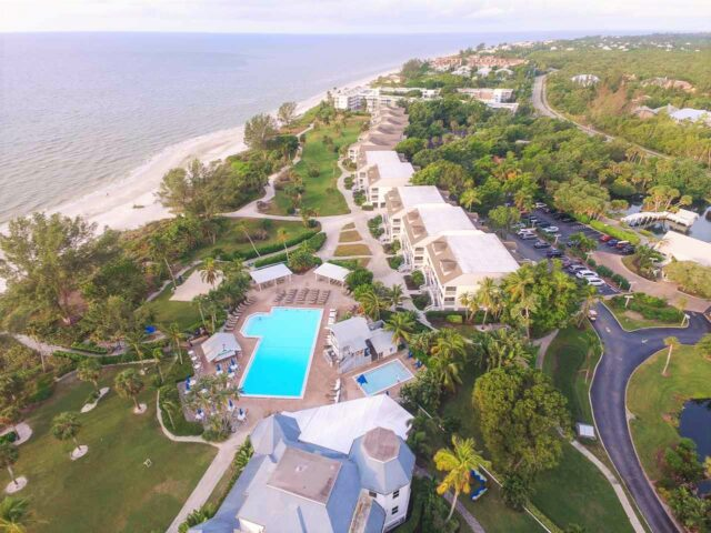 aerial view of sanibel island real estate and beach view